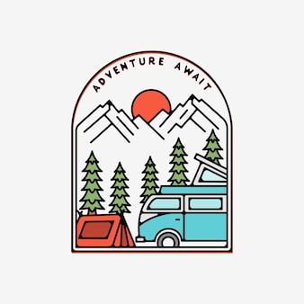 Avontuur wacht met auto monoline badge-ontwerp