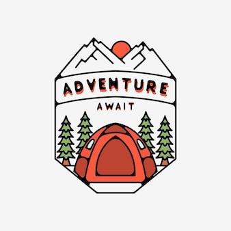 Avontuur wacht met mountain monoline design