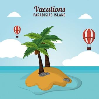 Avontuurlijke airballoons die vakanties paradijsachtig eiland vliegen