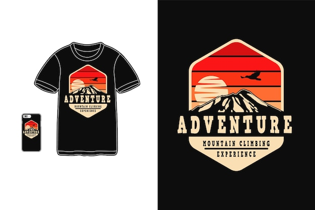 Avontuurlijke bergbeklimmer ervaring, t-shirt design silhouet retro stijl