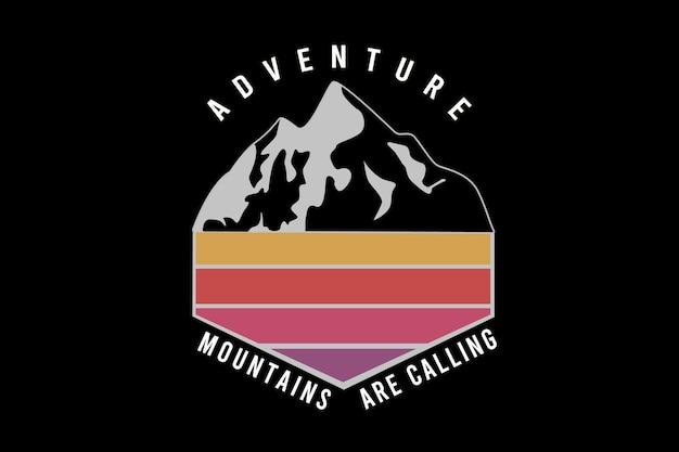 Avontuurlijke bergen roepen kleur geel en rood