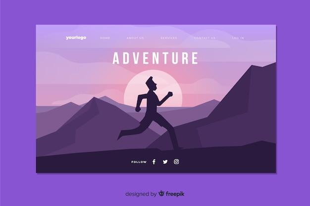 Avontuurlijke bestemmingspagina met hardlopen