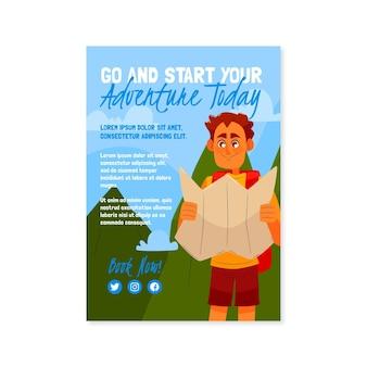 Avontuurlijke flyer met plat ontwerp