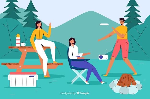 Avontuurlijke mensen kamperen plat ontwerp