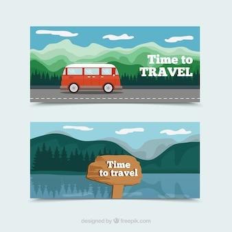 Avontuurlijke reisbanners met plat ontwerp