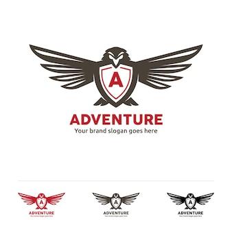 Avontuurvliegtuig logo, vogel symbool met brief in het midden.