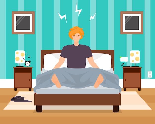 Awaking in slechte humeur jonge man vector illustratie. jongen die aan wekker luistert terwijl het zitten in bed met gesloten ogen. slaapkamer interieur. vlakke stijl ontwerp.