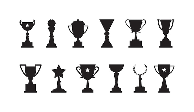 Award cups vector set trofee zwarte pictogrammen sport kampioen prijs winnaar illustratie