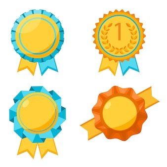 Award gouden ronde borden collectie op wit. elementen om winnaars te belonen door ze op kleding te plakken. poster van medailles met golvende linten eromheen en twee hangende stukken in plat ontwerp