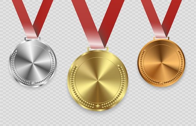 Award medailles geïsoleerd op transparante achtergrond. illustratie van winnaarconcept.