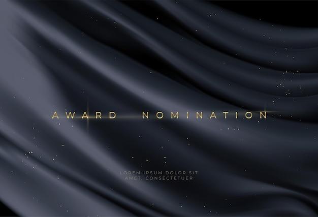 Award-nominatie op luxe zwarte golvende achtergrond