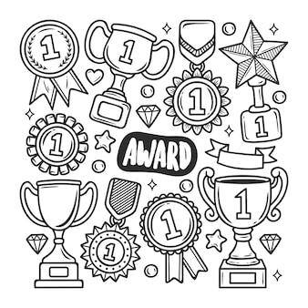 Award pictogrammen hand getrokken doodle kleuren