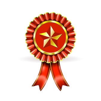 Award red label met ster en balken op wit
