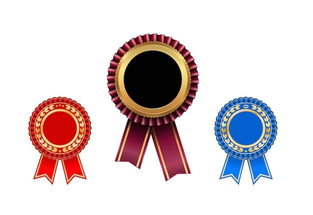 Award rozet met lint icon set