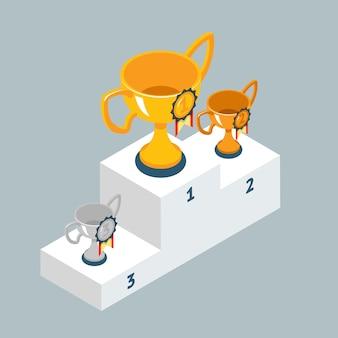 Award trofee cups op het podium van de winnaars. gouden zilveren en bronzen beker.