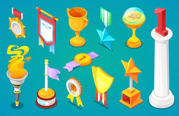 Award trofee winnaars prijs trofycup voor bekroonde kampioen met beloning voor overwinning op concurrentie illustratie set gouden beker voor eerste plaats geïsoleerd op achtergrond