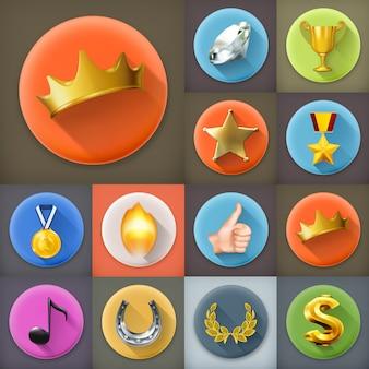 Awards en prestaties, lange schaduw icon set