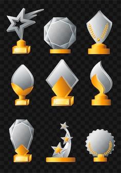 Awards - realistische moderne vector set van verschillende trofeeën. zwarte achtergrond. gebruik deze hoogwaardige clipart voor presentaties, banners en flyers. gouden en zilveren overwinningsprijzen