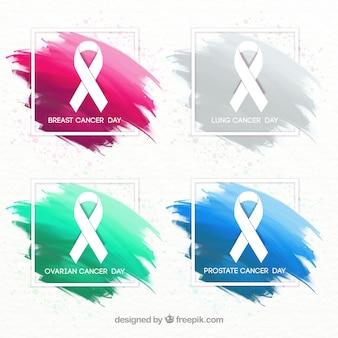 Awareness ribbon set cancer