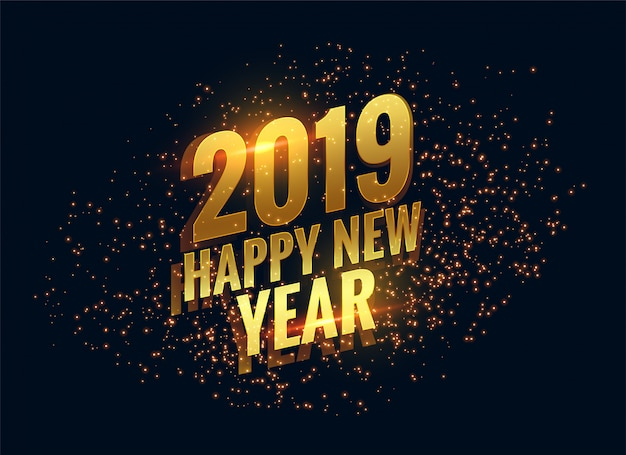 Awesome 2019 gelukkig nieuwjaar schittert gouden achtergrond