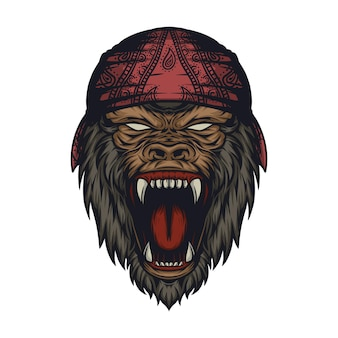 Awesome angry monster gorilla logo ontwerp vector premium vector