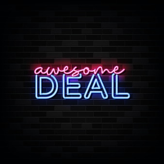 Awesome deal neon signs op zwarte muur