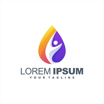 Awesome drop gradiënt logo-ontwerp