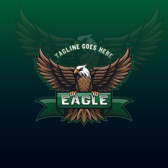 Awesome flying eagle mascot logo voor community of sport ontwerp identiteit sjabloon