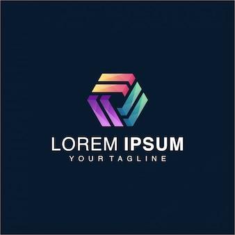 Awesome gradient hexagon logo