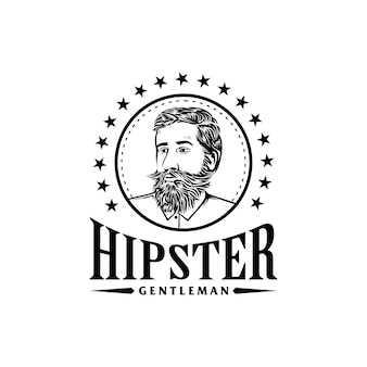 Awesome hipster gentleman bebaarde logo sjabloon