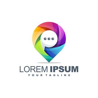 Awesome kleurrijke chat logo sjabloon