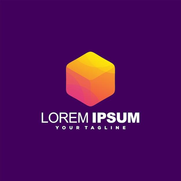Awesome kubus gradiënt logo ontwerp