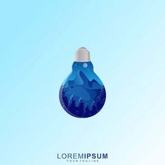 Awesome light bulb mountain forest illustratie