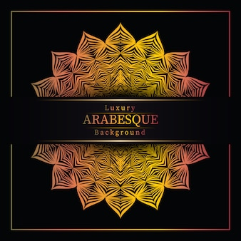 Awesome luxe mandala achtergrond met gouden arabesque