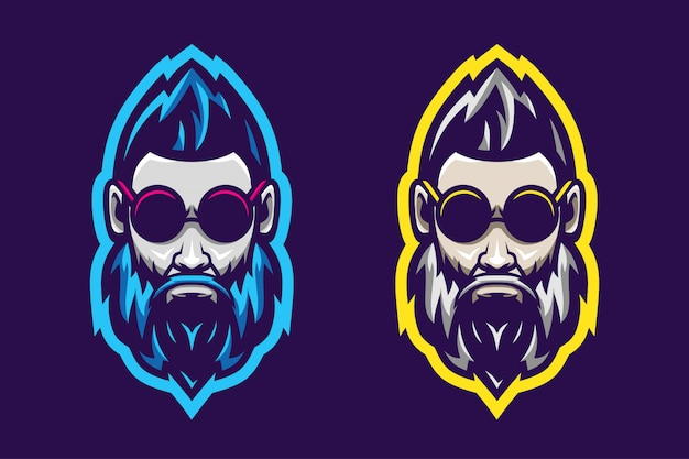 Awesome man baard logo optie kleur