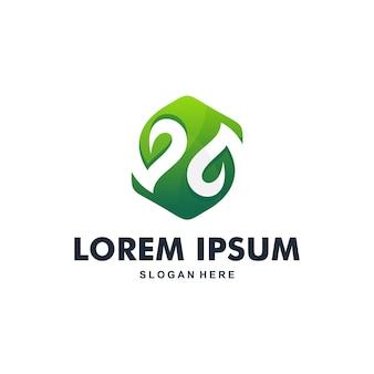 Awesome moderne kleur blad logo premium