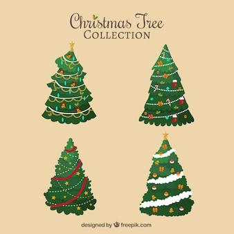 Awesome pak van decoratieve kerstbomen