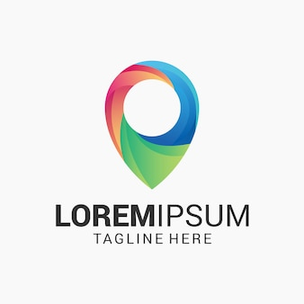 Awesome pin gradient logo ontwerpsjabloon