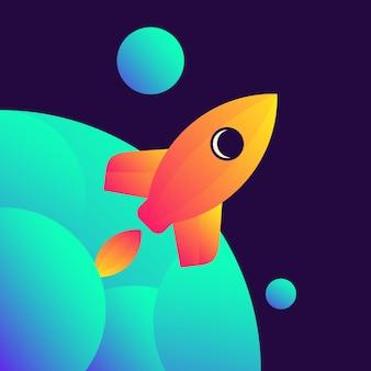 Awesome rocket illustratie