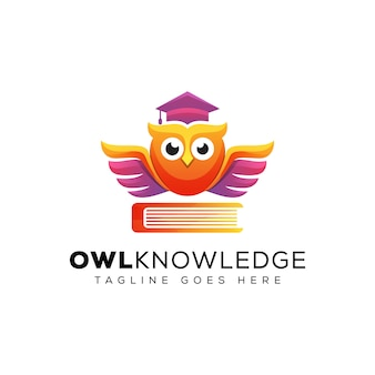 Awesome uil kennis met boek onderwijs logo, school onderwijs logo, dier vogel afgestudeerd logo sjabloon