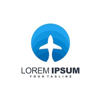 Awesome vliegtuig blauwe kleur logo ontwerp vector