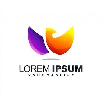 Awesome vogel gradiënt logo ontwerp