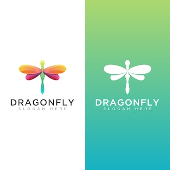 Awesomr dragonfly gradient logo two version