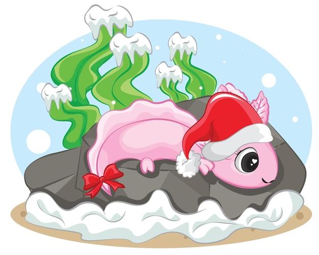 Axolotl (ambystoma mexicanum) op de kerstmuts van een kerstachtergrond