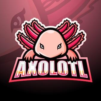 Axolotl mascotte esport logo ontwerp