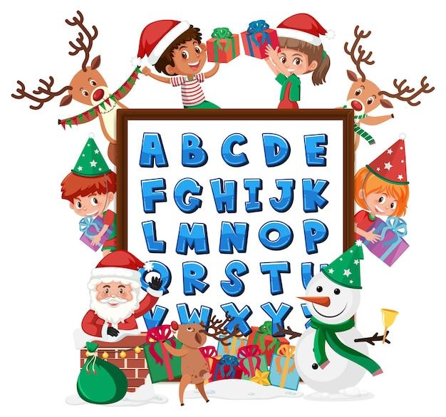 Az alfabetbord met veel kinderen in kerstthema