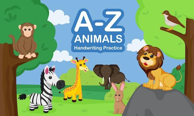 Az animal hand schrijven oefenboekomslag