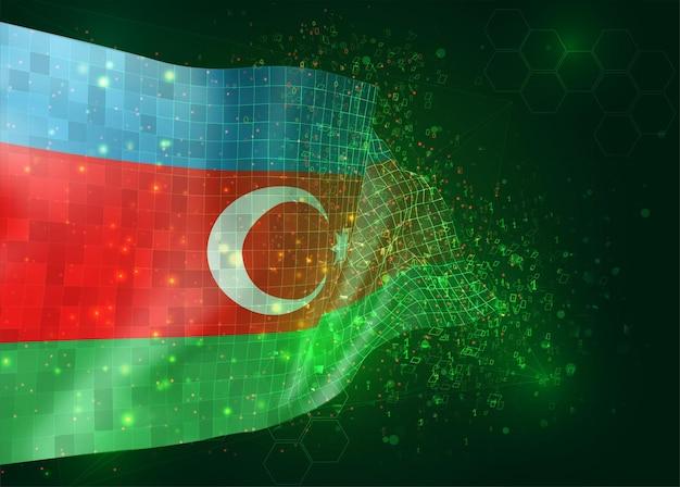 Azerbeidzjan, op vector 3d-vlag op groene achtergrond met veelhoeken en gegevensnummers