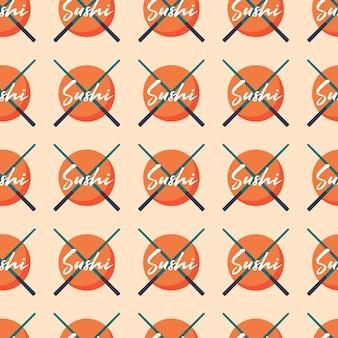 Aziatisch eten japanse china keuken sushi logo met stokken vector naadloze patroon texture