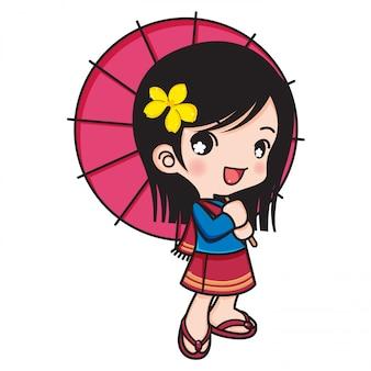 Aziatisch meisje die traditionele kostuums dragen, die lollyparaplu's met de illustratie van frangipanibloemen houden